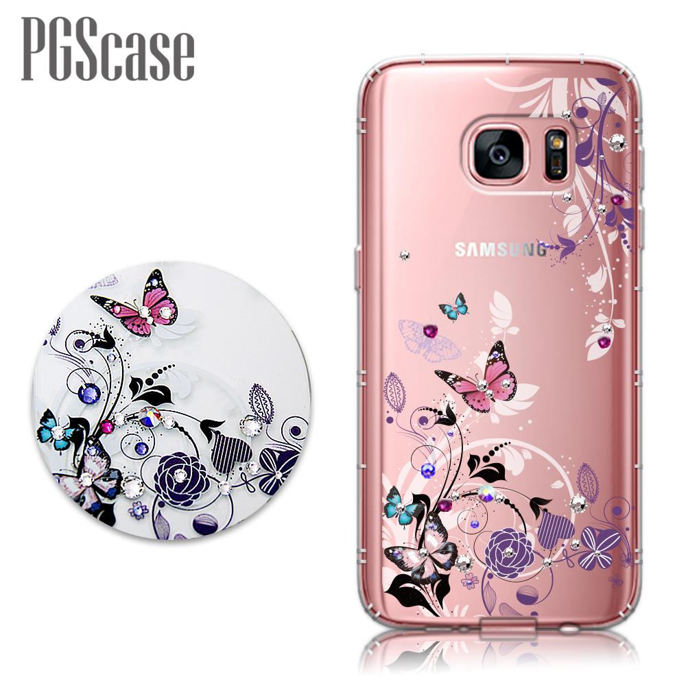 PGS Samsung Galaxy S7 edge 奧地利彩鑽防摔手機鑽殼-蝶舞
