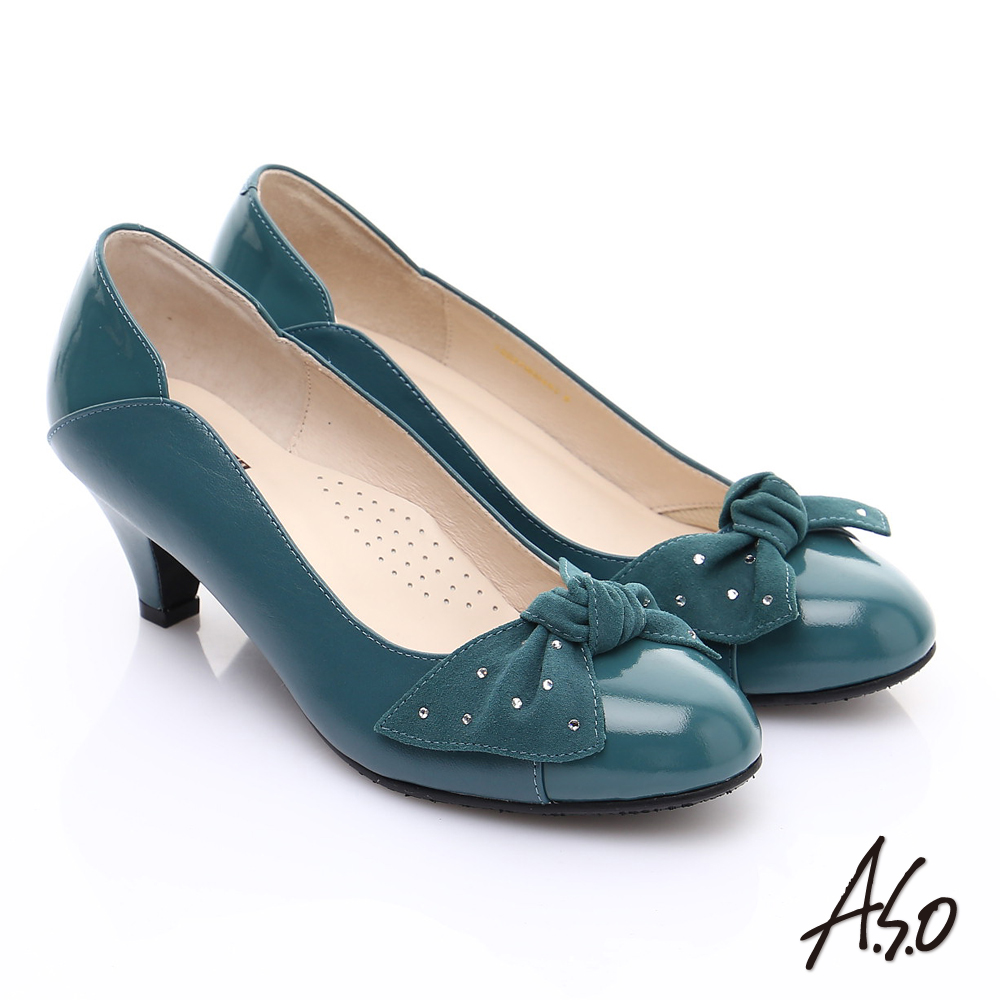 A.S.O 輕透美型 全真皮扭結蝴蝶低跟鞋 藍
