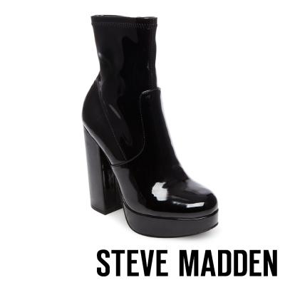 STEVE MADDEN-STARDUST 素面厚底粗高跟短靴-鏡面黑