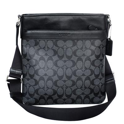 COACH鐵灰黑C-Logo真皮飾邊前後夾層袋方型