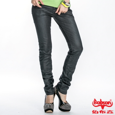 BOBSON 女款壓膠刷白立體褶直筒褲(黑灰87)