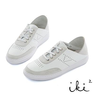 iki2 真皮 拼接撞色後踩兩穿休閒鞋-白