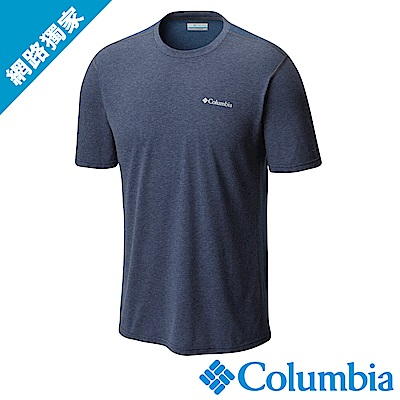 Columbia哥倫比亞 男款-快排短袖上衣深藍 UAM13010NY