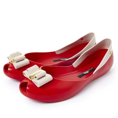 MELISSA 立體小花魚口鞋-紅/米