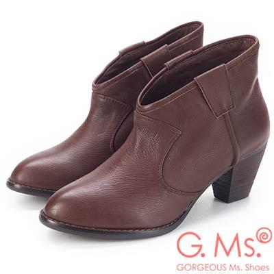 G.Ms. 全真皮簡約尖頭V口粗跟踝靴-深咖啡