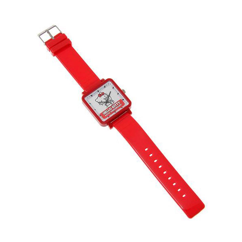 Sanrio HELLO KITTY 40周年紀念方錶框手錶白底小熊