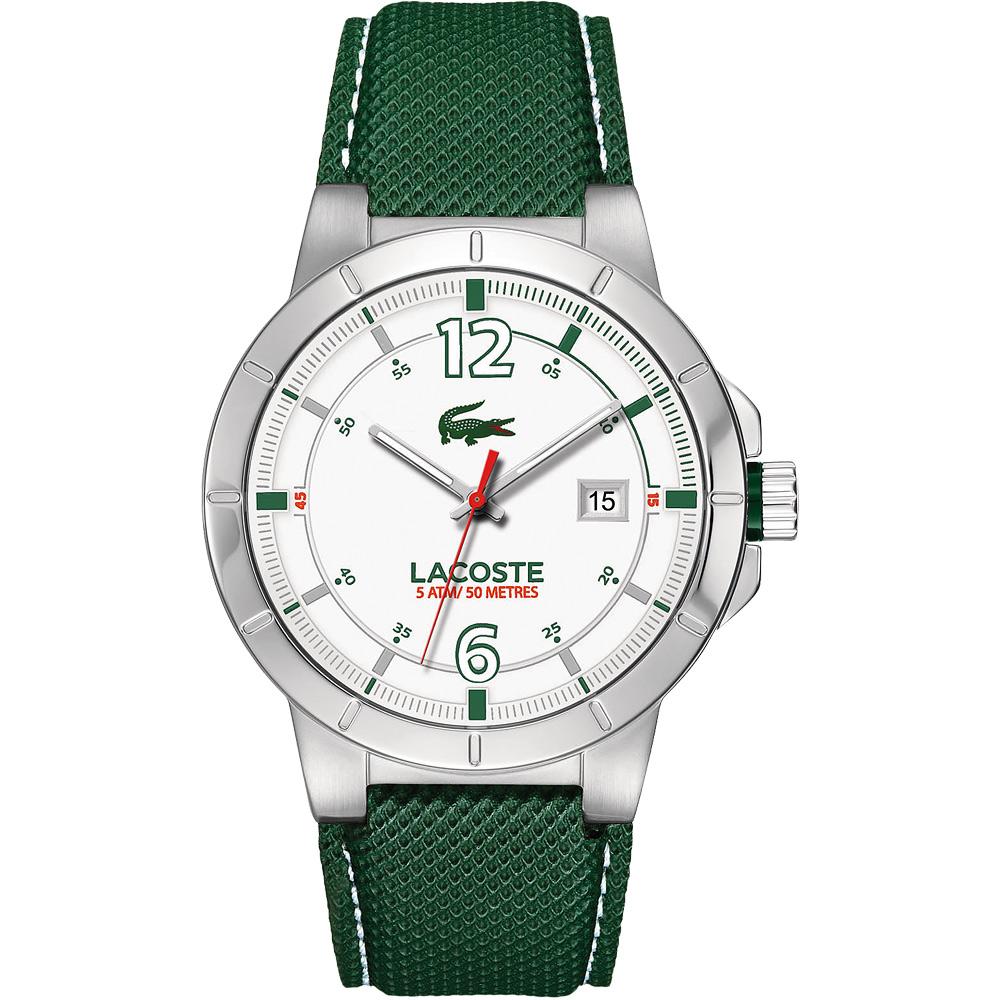 Lacoste 鱷魚 都會時尚大三針腕錶-銀x綠色錶帶/44mm