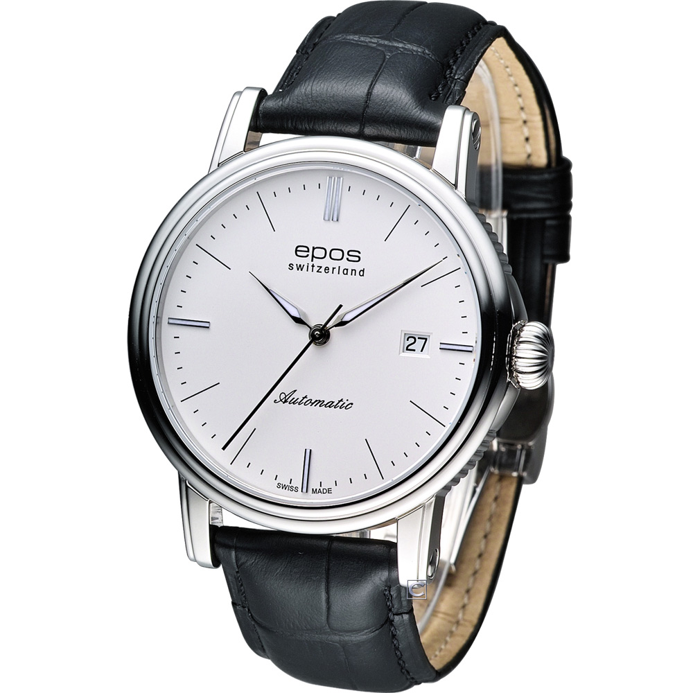 Epos Emotion 英倫都會紳士機械錶-白/41mm