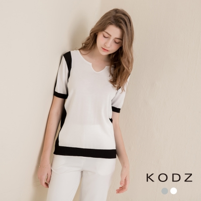 東京著衣-KODZ 都會撞色小V領針織衫-S.M(共二色)