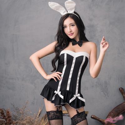 角色扮演 黑色平口長馬甲兔女郎角色扮演服六件組(黑F) Lorraine