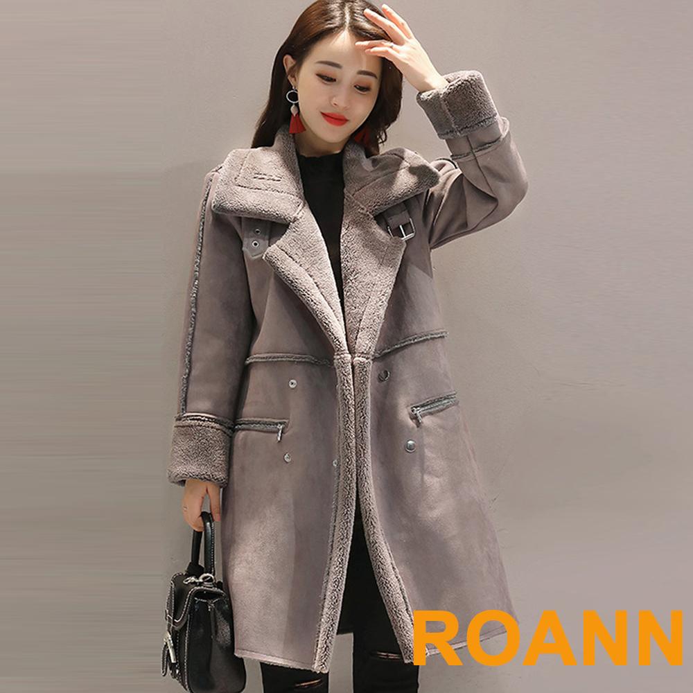 大翻領雙排釦麂皮绒長袖外套 (共二色)-ROANN