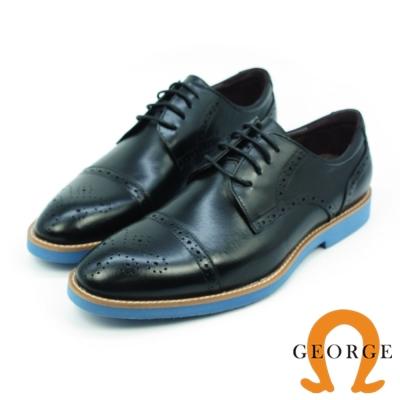 GEORGE 喬治-牛皮橫飾雕花配色牛津鞋皮鞋-黑色