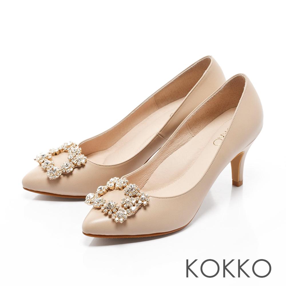 KOKKO-紅毯絢燦浪漫花鑽尖頭高跟鞋-牛奶駝