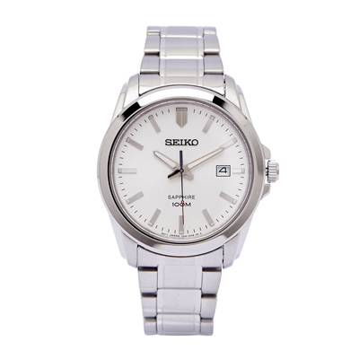 SEIKO 極簡紳士風藍寶石鏡面手錶(SGEH45P1)-白面X銀色/40mm