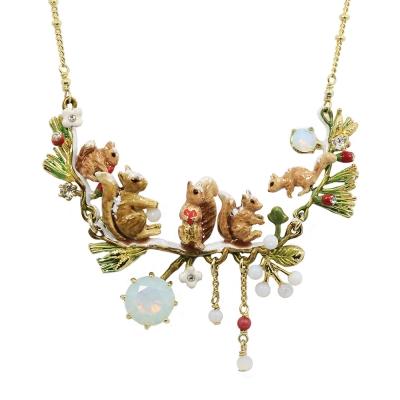 Les Nereides 動物花園系列 冬季花園可愛松鼠水鑽項鍊