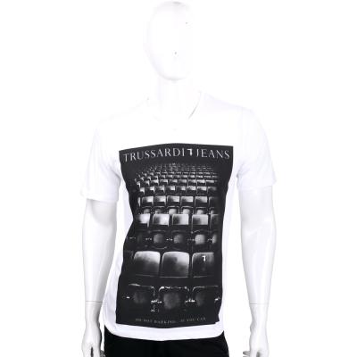 TRUSSARDI 白色電影院圖騰棉質短袖T恤