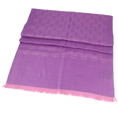 GUCCI 粉紫色 G LOGO羊毛混紡圍巾