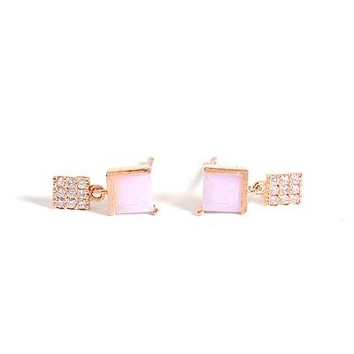 微醺禮物 正韓 鍍K金針  粉紅方鋯 小方垂墜 簡約精緻可愛春天 耳針 耳環