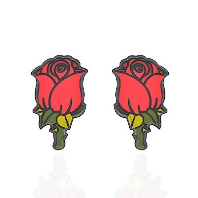 微醺禮物 耳環 鋼針 花朵造型 玫瑰花苞 可愛俏皮 卡通 耳針