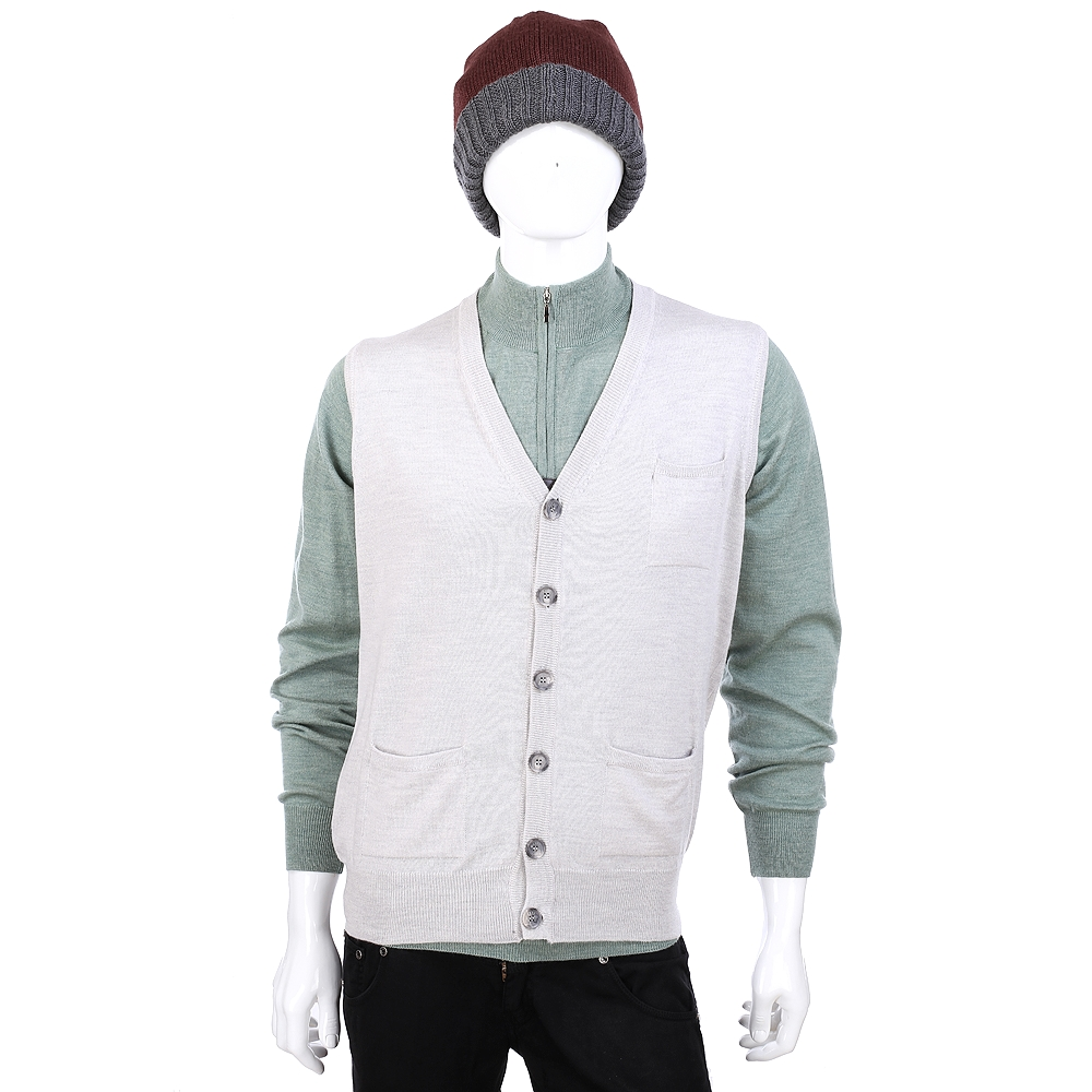 DAKS 美麗諾羊毛排釦設計針織背心(淺灰色)