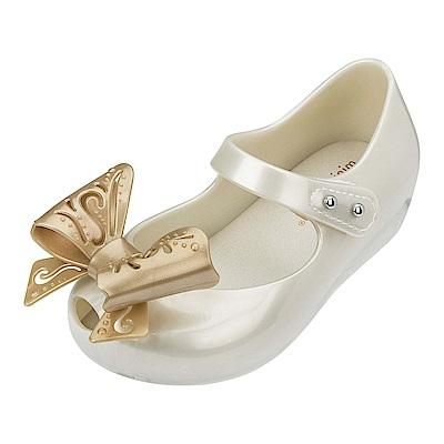 MINI MELISSA 甜美立體鏤雕蝴蝶結童鞋-珍珠白