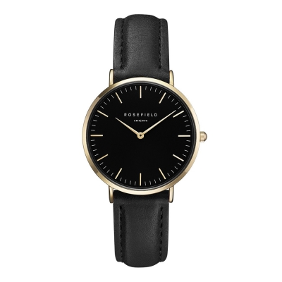 ROSEFIELD The Tribeca系列黑皮革錶帶-金框x黑盤/33mm