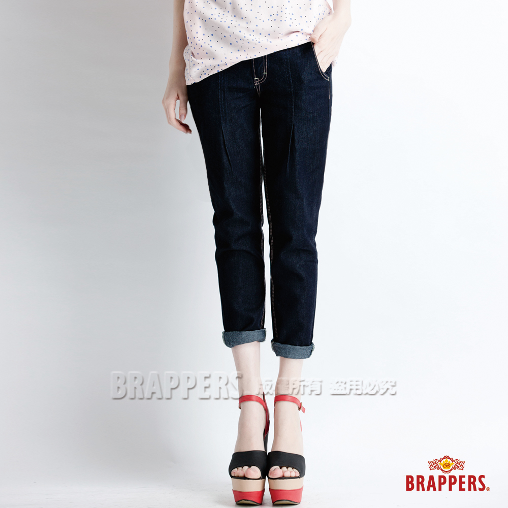 BRAPPERS 女款 BoyFriend Ballon系列-女用天絲棉燈籠八分反摺褲-藍