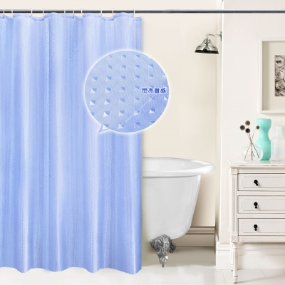 LISAN特級加厚防水浴簾A-017經典不凡 閃亮之星-水藍