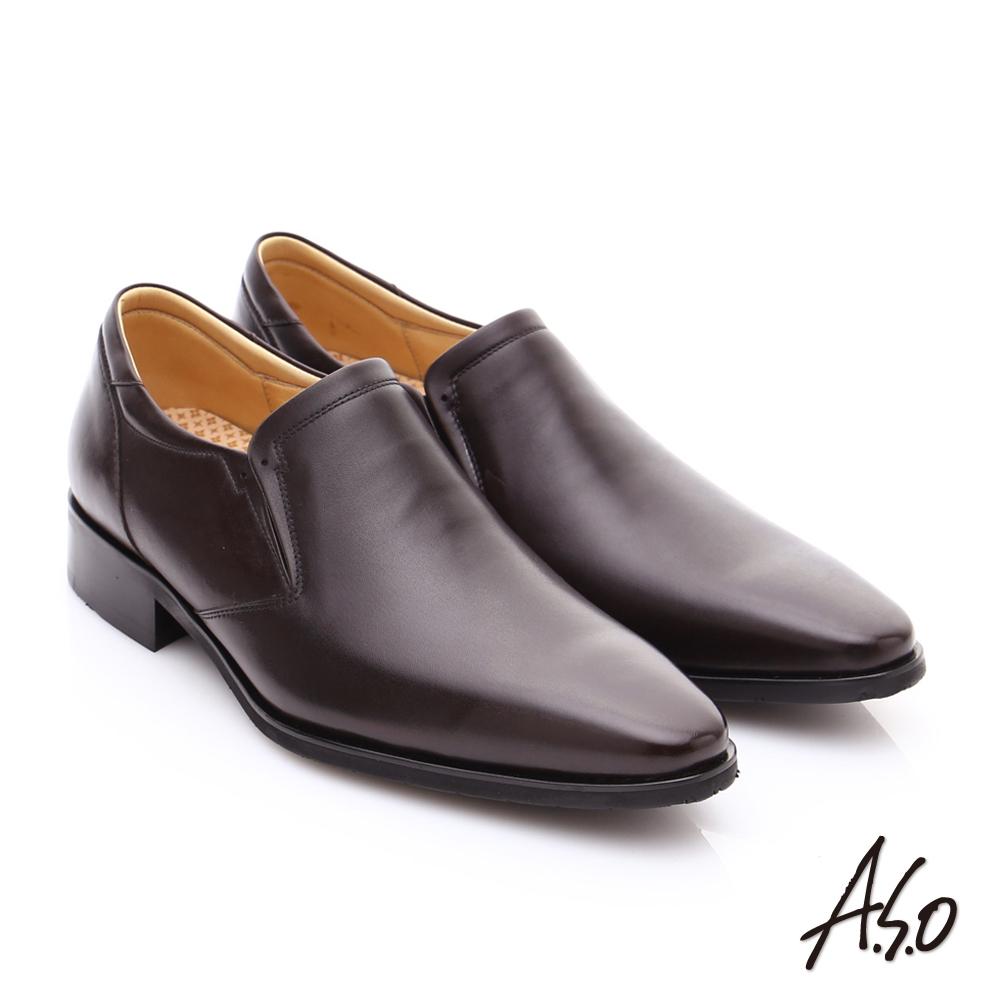 A.S.O 超輕雙核心 牛皮雙色直套式奈米紳士鞋 咖啡色