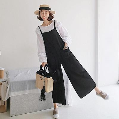 La Belleza雙肩帶雙口袋棉質連身吊帶褲闊腿褲