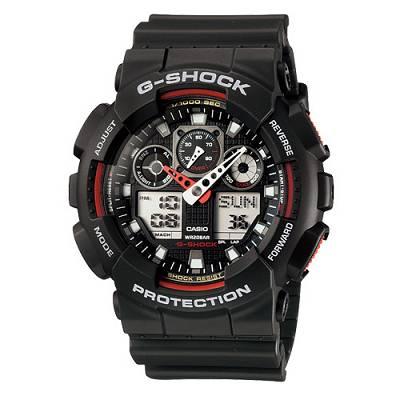 G-SHOCK 個性重型機械感Man運動錶(GA-100-1A4)-紅指針/55mm