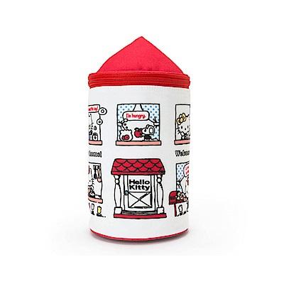 Sanrio HELLO KITTY房屋造型圓筒濕紙巾收納套(甜蜜的家)