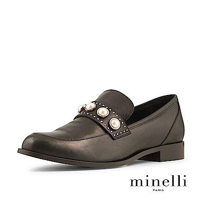 Minelli--葡萄牙製造 全真皮珍珠樂福平底鞋-都會黑