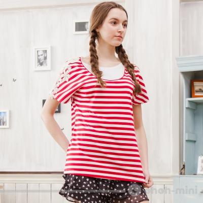 ohohmini哺乳裝甜美蕾絲款條紋哺乳上衣