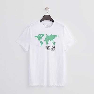 Hang-Ten-男裝-有機棉-世界地圖T恤-白色