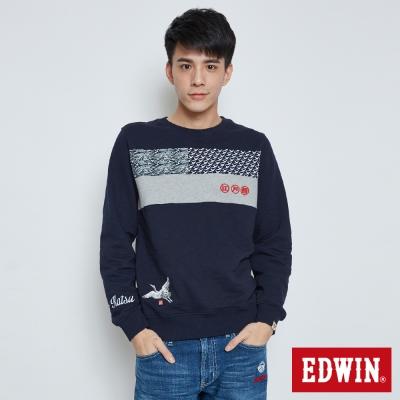 EDWIN EDOKATSU江戶勝拼接長袖T恤-男-丈青