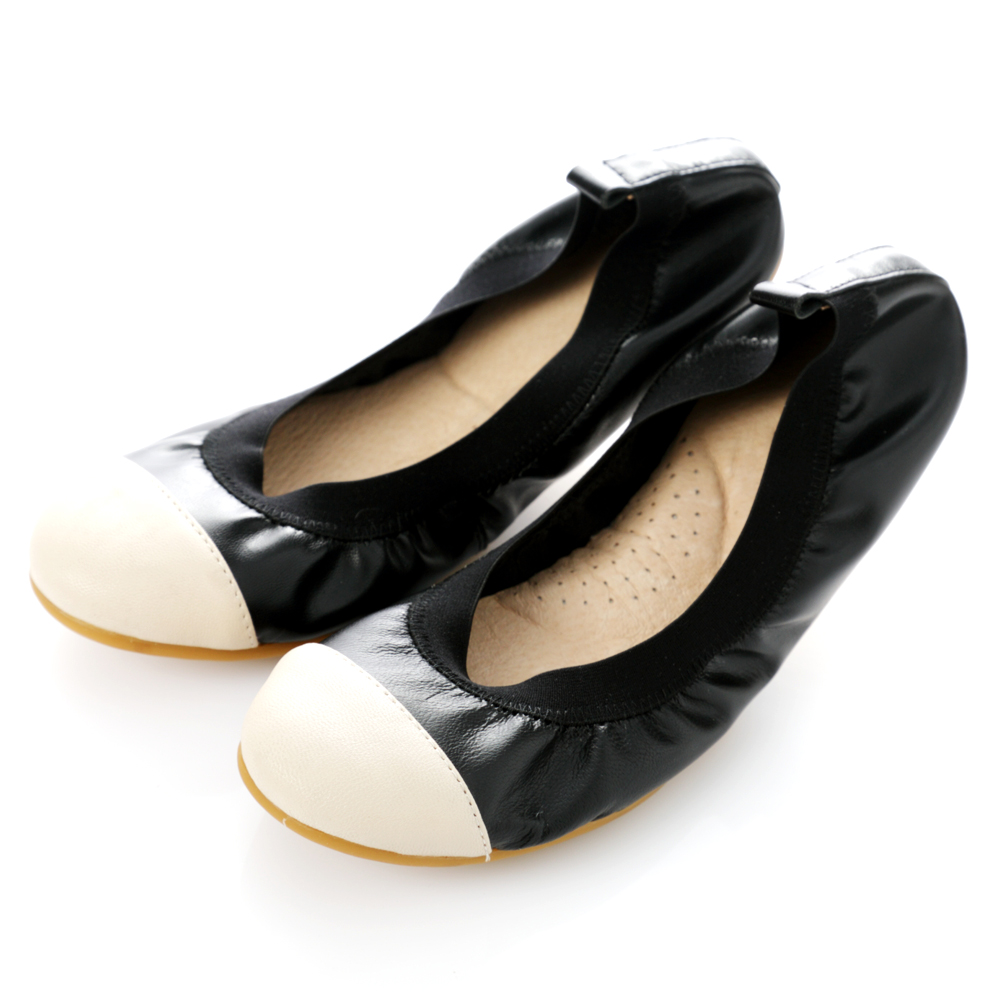 【G.Ms.】旅行女孩II‧撞色拼接全真皮可攜式軟Q娃娃鞋(附專屬鞋袋)‧黑鞋身X米白