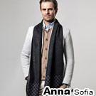 AnnaSofia 中性都會風 仿羊絨窄版長圍巾(菱格-黑灰系)