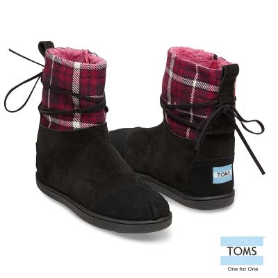 TOMS 皮繩格紋拼接雪靴-孩童款(黑)