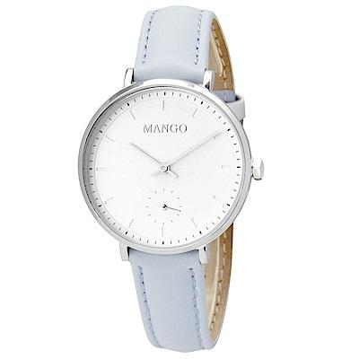 MANGO 百搭白面透明刻度手工皮革錶-天空藍/34mm