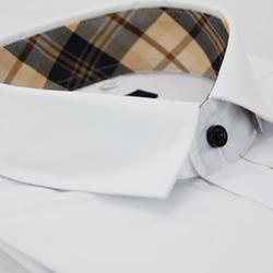 【金安德森】經典格紋繞領門襟白色窄版長袖襯衫