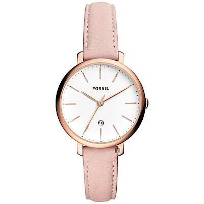 FOSSIL 都會魅力時尚女錶-白x粉色錶帶/36mm