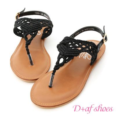 D AF 純真步調.蕾絲鏤空針織夾腳涼鞋~黑