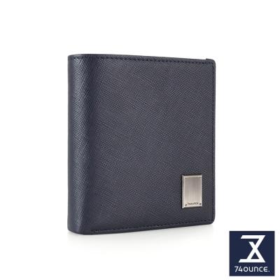 74盎司 Cross 十字紋真皮側拉零錢短夾[N-565]藍