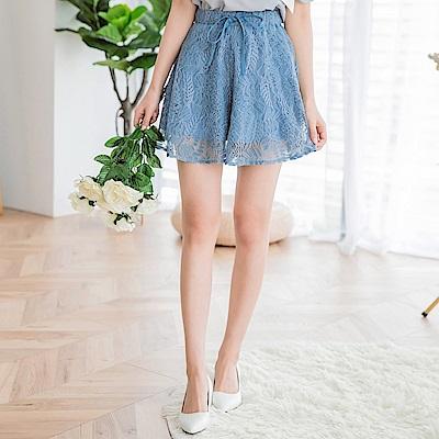 滿版蕾絲雕花鬆緊綁帶短褲裙-OB大尺碼