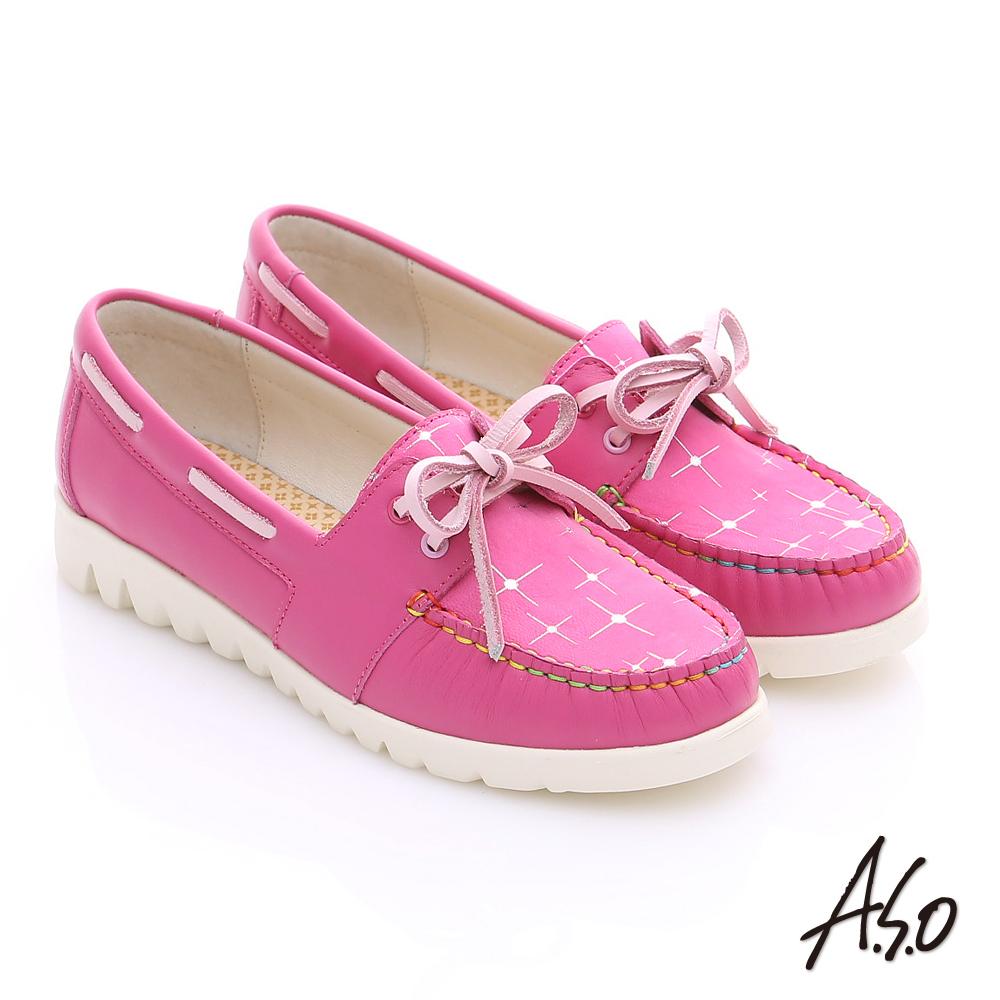 A.S.O 輕漾漫步 全真皮彩色縫線奈米平底鞋 桃粉紅