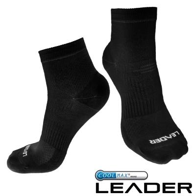 LEADER COOLMAX 運動專用薄型除臭機能襪 男款(黑色)