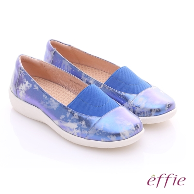 effie 挺麗氣墊 金箔羊皮寬版鬆緊帶奈米休閒鞋 藍色