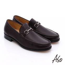 A.S.O 尊榮青紳 柔軟鹿皮雙釦環紳士鞋 酒紅色