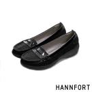 HANNFORT H-COMF五密度鱗紋真皮氣墊樂福鞋-女-高雅黑